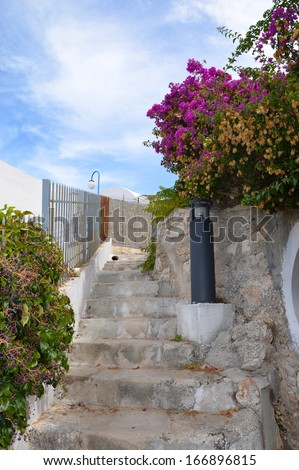 A beautiful lane in Peschici, Gargano, Italy - stock photo