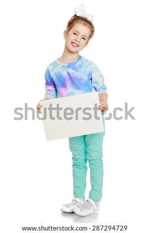A beautiful little Caucasian girl holding in hands in front of a rectangular banner-Isolated on white background - stock photo