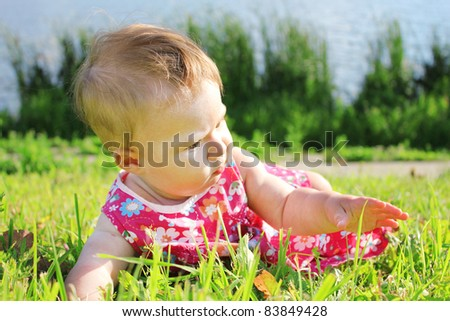 a beautiful little girl in nature