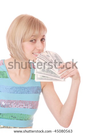 A beautiful Money Woman over white background