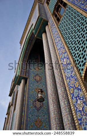 A beautiful mosque covered in mosaics. - stock photo
