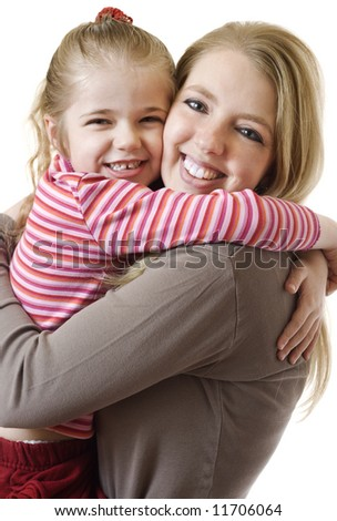 A beautiful mother and her adorable child embracing.