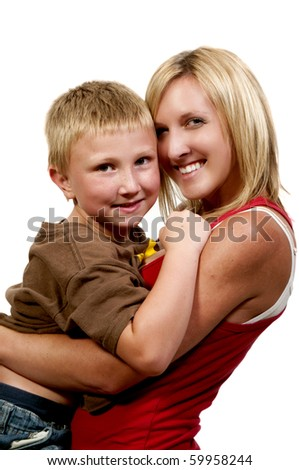 A beautiful mother and her adorable son - stock photo