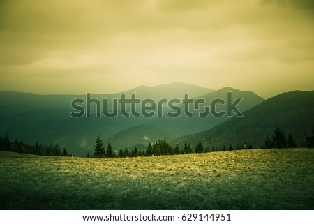 A beautiful mountain scenery of Tatra mountains. Warm summer haze, artistic, colorful, contrast look.
