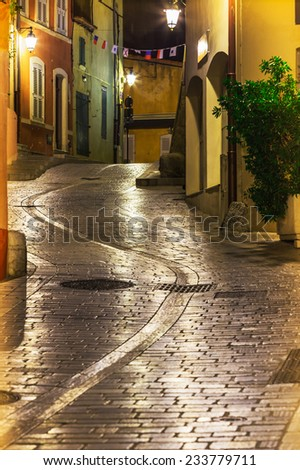 A beautiful narrow street, of the mountain village of Provence - stock photo