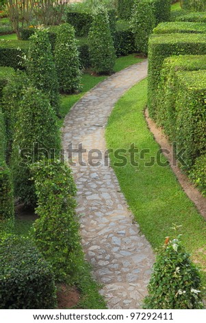 A beautiful nature path through in the garden