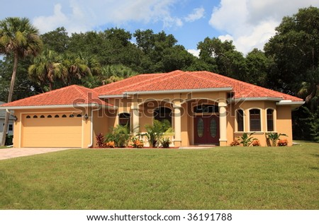 A beautiful new home in sunny Florida - stock photo