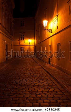 a beautiful night view of the street in Prague - stock photo