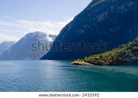 A beautiful Norwegian fjord landscape - stock photo