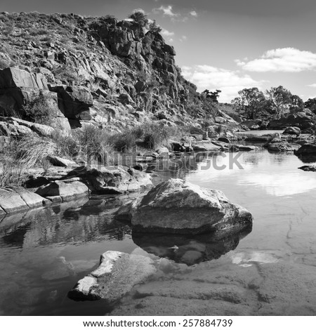 A beautiful oasis in rural outback Australia in black and white - stock photo