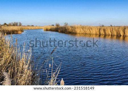 A beautiful of river landscape of before sunset - stock photo
