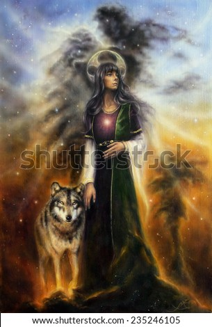 A beautiful oil painting on canvas of a mystical fairy priestess with a wolf by her side profile portrait  - stock photo