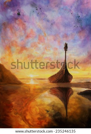 A beautiful oil painting on canvas of a small boat resting in a shallow bay at sunset - stock photo