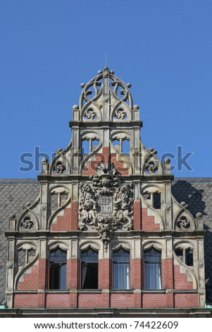a beautiful old gable of a historical building in Hamburg, Germany - stock photo