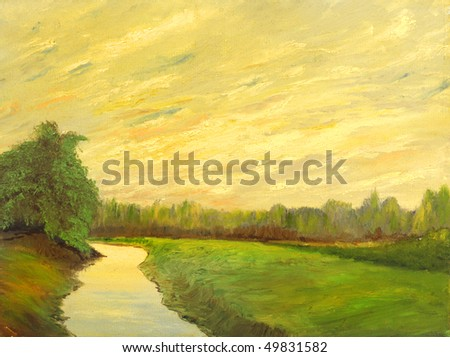 A beautiful original landscape painting oil on canvas - stock photo