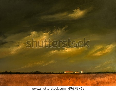 A beautiful Original landscape painting with Barn and Wheat Fields - stock photo