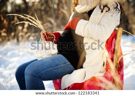 A beautiful outdoor pregnant woman portrait in snowy nature - stock photo