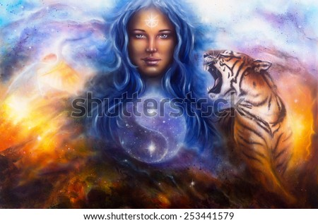A beautiful painting oil on canvas of a female goddess lada guarding a sacred balance with a flying heron and a roaring tiger - stock photo