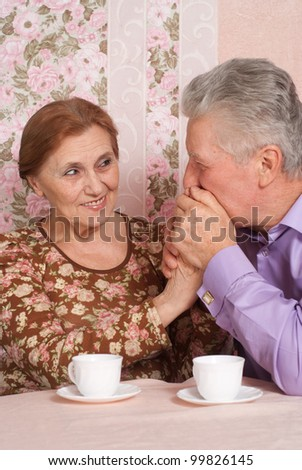 A beautiful pair of aged people sitting together on a pink background - stock photo