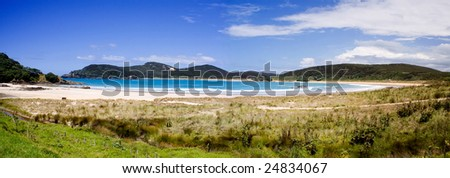 A beautiful panorama of Matai Bay, a popular tourist destination in Doubtless Bay, Northland, New Zealand.