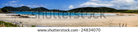 A beautiful panorama of Matai Bay, a popular tourist destination in Doubtless Bay, Northland, New Zealand. - stock photo