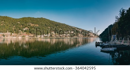 A beautiful panoramic landscape of Naini Lake in morning. Nainital, India. - stock photo