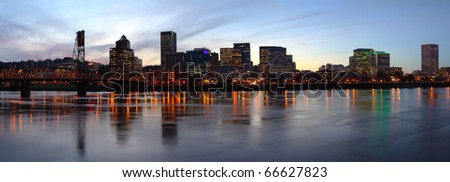 A beautiful panoramic skyline at dusk of Portland Oregon. - stock photo