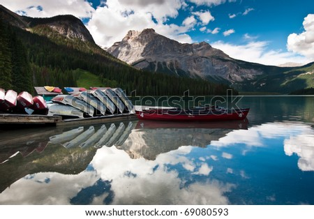 a beautiful panoramic view of lake louise - stock photo