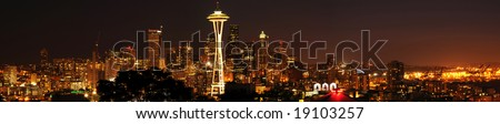 A beautiful panoramic view of Seattle downtown from the best viewpoint in town. - stock photo