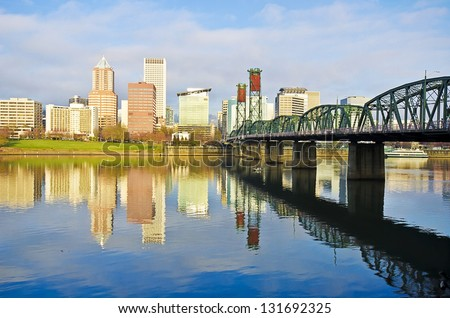 A beautiful reflection of portland city - stock photo