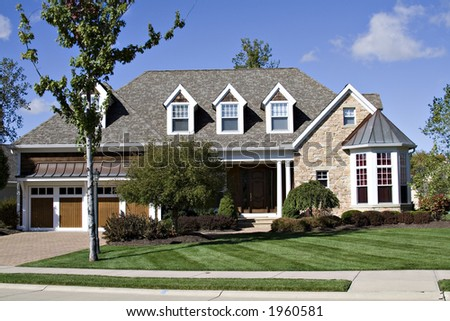 A beautiful residential home in an exclusive suburb of Cleveland, Ohio. - stock photo
