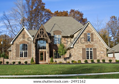 A beautiful residential home in the suburbs of Cleveland, OH United States - stock photo