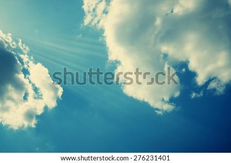 A beautiful retro effect sky background. - stock photo