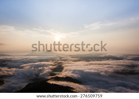 a beautiful scene, mountain with sea of mist at Pha Tang, Chiangrai, Thailand - stock photo