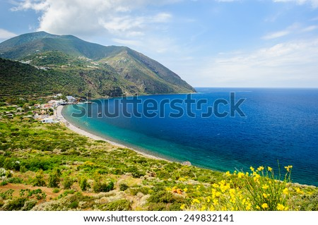 A beautiful scenery of Filicudi island, Aeolian Islands, Sicily, Italy. - stock photo