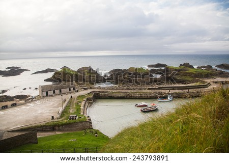 A beautiful scenic coastline on the world-famous Causeway Coast in Northern Ireland - stock photo