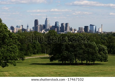 A beautiful scenic view of downtown philadelphia skyline