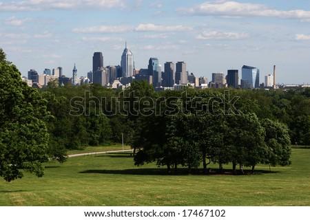 A beautiful scenic view of downtown philadelphia skyline - stock photo