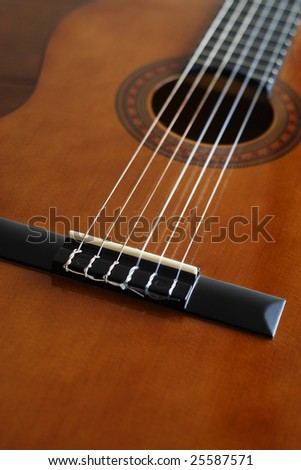 A beautiful shot of a guitar - stock photo