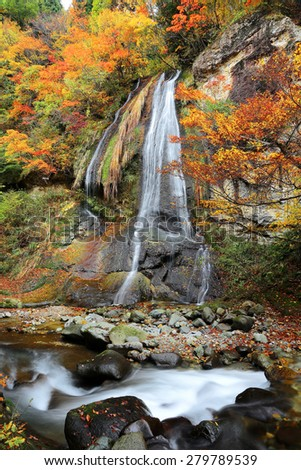 A beautiful silky waterfall in the forest of colorful autumn foliage ~ Nature scenery of Japan ( Long Exposure Effect ) - stock photo
