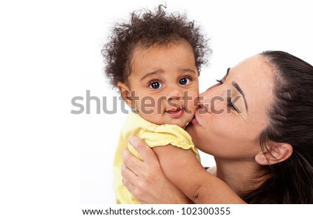 A beautiful six month old baby girl being held and kissed on the cheek by her pretty brunette mother. Isolated on white with extra copy space for your text.