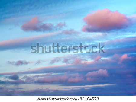 A beautiful sky just before sunset after a rainy day. - stock photo