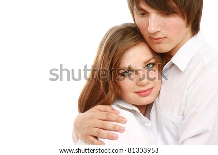 A beautiful smiling couple - on background - stock photo