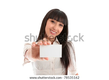 A beautiful smiling young woman holding a businesscard, club card, id card, licence or other.  Blank.   White background. - stock photo