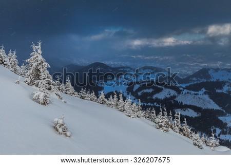 a beautiful snowstorm in Piatra Craiului Mountains, Romania - stock photo