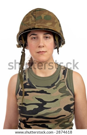 A beautiful soldier girl portrait on white background