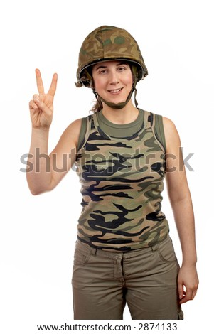 A beautiful soldier girl.  Victory gesture with the fingers