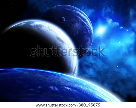 A beautiful space scene with parade of planets and nebula. Elements of this image furnished by NASA - stock photo