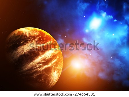 A beautiful space scene with planet and nebula. Elements of this image furnished by NASA - stock photo