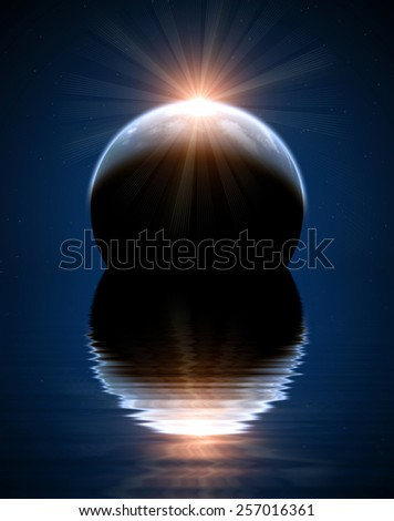 A beautiful space scene with planet and sun - stock photo